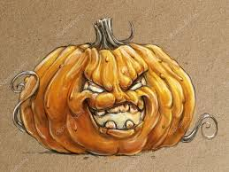 sketch style hand drawing angry halloween pumpkin u2014 stock photo
