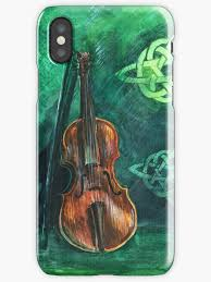violin fiddle on emerald background with celtic ornament
