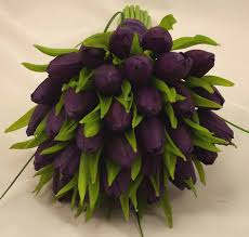 Tulip Bouquets Purple Tulip Bridal Posy Bouquet Wedding Bouquets Silk