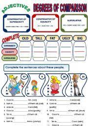 the adjective degrees of comparison language worksheets