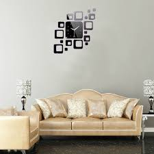 black diy 3d home modern decoration square mirror wall clock