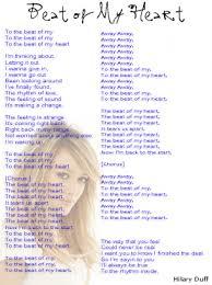 printable lyrics hilary duff beat of my heart lyrics sheet