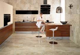 cream marble kitchen floor with brown wooden kitchen set and white