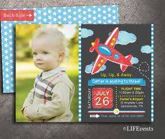 airplane invitation vintage birthday party chevron clouds planes