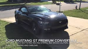 Black Mustang With Stripes Mustang Gt Premium Matte Black Red Racing Stripes Red Calipers