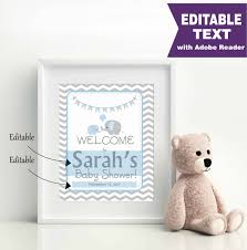 editable elephant welcome party sign printable baby shower boy
