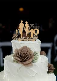 10 wedding anniversary 10 th anniversary cake topper personalized rustic wedding cake