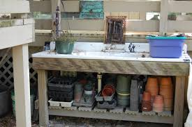 Inexpensive Potting Bench by Ideas Potting Bench With Sink Planter Tables Outdoor Outdoor