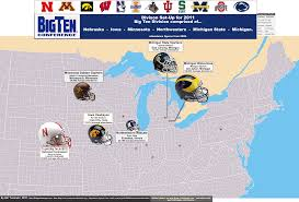 Map Of Ohio And Michigan by Ncaa Division I Fbs Big Ten Conference 2010 Season U2013 Attendance