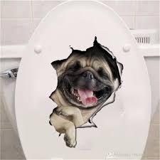 Hole View Vivid Cats Dog 3d Wall Sticker Bathroom Toilet Living Room