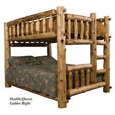 Fireside Queen Over Queen Cedar Log Bunk Bed - Log bunk beds