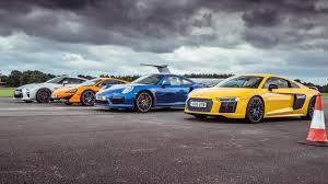maserati gt vs porsche 911 tg drag races mclaren 570s vs porsche 911 turbo s vs audi r8 vs