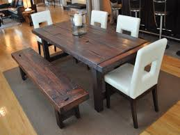 Bench Style Dining Room Tables Rustic Dining Tables With Benches Roselawnlutheran