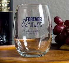 personalized glasses wedding personalized 9 oz stemless wine glass wedding favor