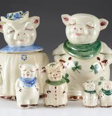 vintage ceramic pig kitchenware cookie jars and salt and pepper