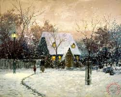 kinkade a winter s cottage painting a winter s cottage