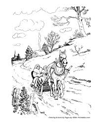 classic christmas coloring pages horse open sleigh