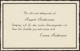 thank you for funeral flowers thank you card sent out after august andersson s funeral