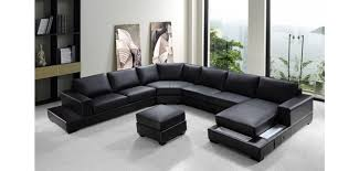 Large Black Leather Sofa Ritz U Shape Large Sectional Sofa In Black Leather