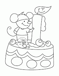 funny mouse and birthday cake coloring page for kids holiday