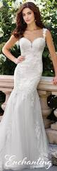 chiffon fit and flare wedding dress 117194 enchanting by mon