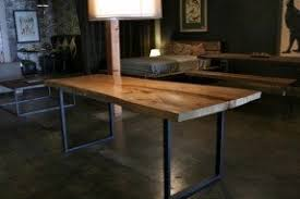 Dining Room Wood Tables Rustic Wood And Metal Dining Table Foter