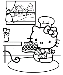 happy birthday hello kitty coloring page printable free coloring