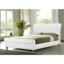 buy white faux leather bed frame double 4ft 6