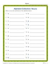 alphabet collections nouns printable parts of speech activity