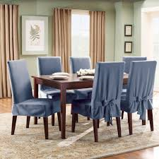 best armless wooden dining chair with blue color slipcover come