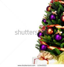 decorated christmas tree on white background stock photo 113445307