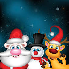 santa claus penguins reindeer snowman ice greeting