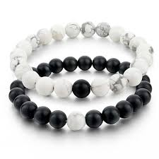 Where Can You Buy Door Beads by Amazon Com Distance Bracelets For Lovers 2pcs Black Matte Agate