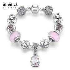 murano glass beads bracelet silver images Cute cat kitty charms fit original bracelet bangle murano glass jpg