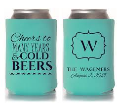 custom wedding koozies custom wedding favor cheers to many years and cold beers can
