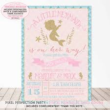 mermaid baby shower invitations mermaid baby shower invitation aqua pink gold sparkle baby