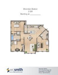 two bedroom floor plan sheridan station in southeast washington