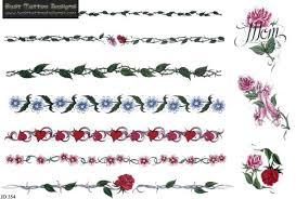 bracelet designs tattoo images Flower heart and leaves armband tattoos designs tattoo 39 s jpg