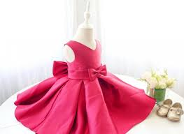 Thanksgiving Dress Baby Fuchsia Sleeveless V Neck Baby Dress Toddler