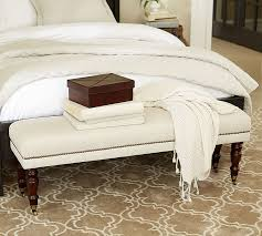 Bedroom Upholstered Benches Raleigh Upholstered Bench With Turned Legs Pottery Barn