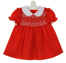 polly flinders smocked dress with white lace trimmed collar