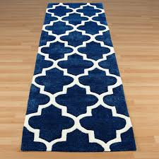 Navy Blue Runner Rug Arabesque Hallway Runners In Blue Shrubbery Bedroom Pinterest