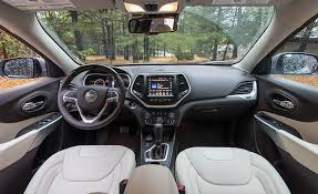 jeep cherokee sport interior 2017 2018 jeep cherokee interior review car and driver