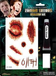zombie tattoos makeup kit with fake blood and sponge for halloween