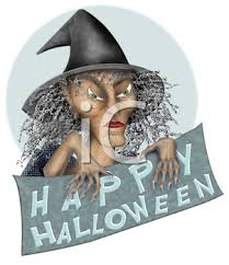 ugly old witch holding a happy halloween sign royalty free clip