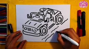 jeep art how to draw a jeep art for kids youtube