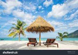 Clip On Umbrellas For Beach Chairs Vacation Tropical Countries Beach Chairs Umbrella Stock Photo