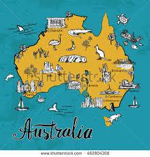 vector map drawing australia vector map stock vector 482804308