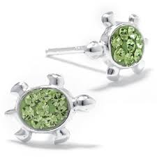 green stud earrings silver treasures green stud earrings jcpenney