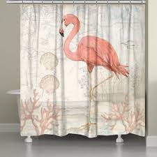 Flamingo Shower Curtains Coastal Flamingo Shower Curtain Laural Home